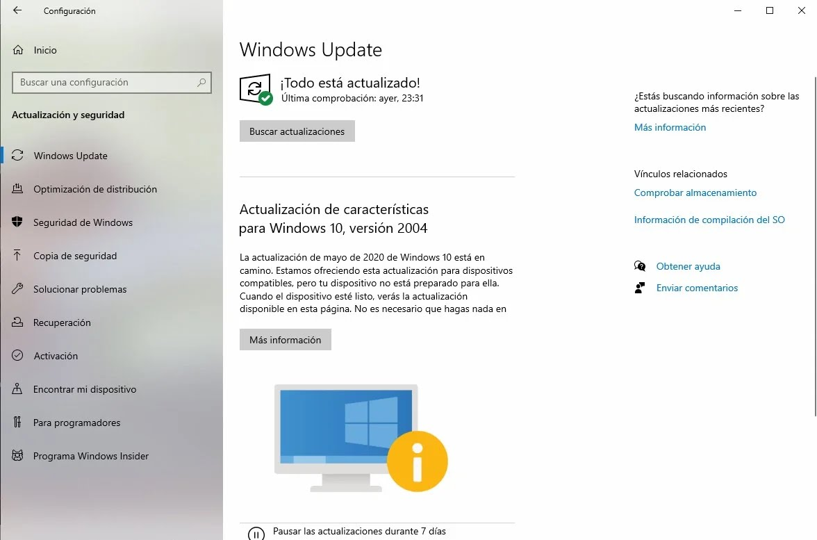 Windows Update indica que el equipo no está preparado para Windows 10 May 2020 Update